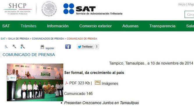CLIC PARA ENTRAR A VER EL COMUNICADO EN PAGINA DEL SAT.