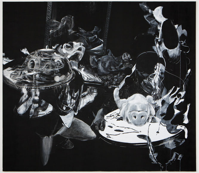 Untitled -Pastel, pigment on canvas-     -2013-     -230x250cm