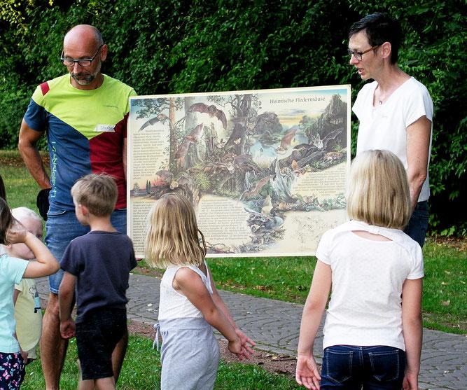 Beim Fledermausfest im Kauffmannsgarten gab es von Imke Meyer und Stefan Jacob von der AG Fledermausschutz viele Informationen zu den lautlosen Jägern der Nacht (Foto: Tanja Frischgesell)