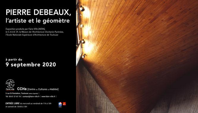 """Affiche de l'exposition """"Pierre Debeaux, l'artiste et le géomètre"""" au Centre des Cultures de l'Habiter"""