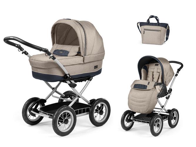 Kinderwagen Culla Elite übersicht dessin luxe beige gestell silber