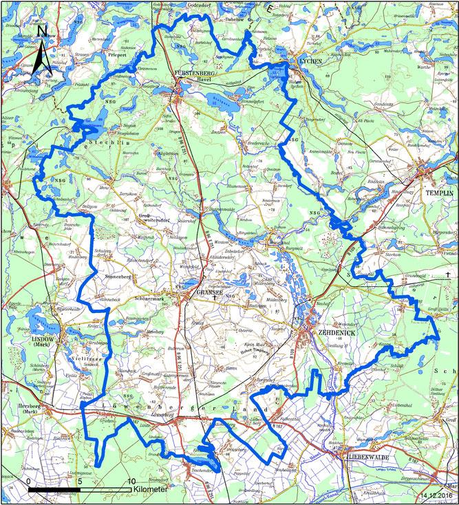 Verbandsgebiet des NABU Regionalverbands Gransee, Karte: T. Disselhoff