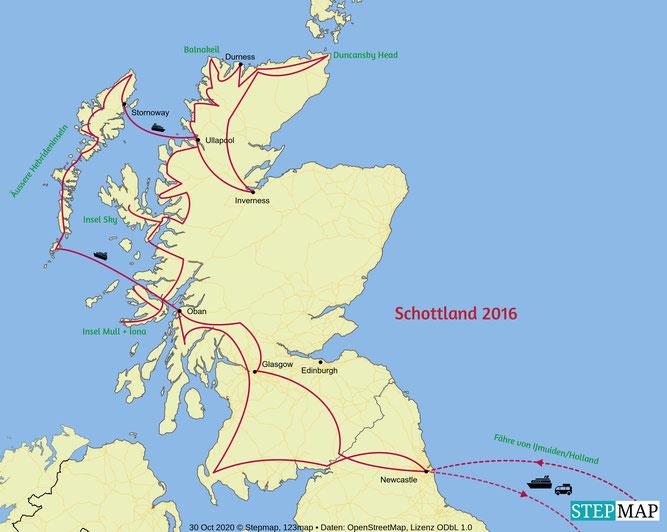 Unsere Strecke in Schottland/2016