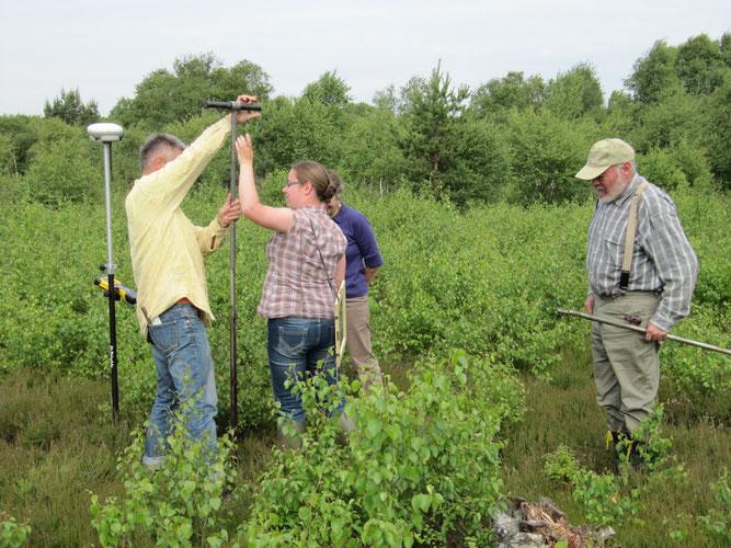 Messungen zum Wasserspiegel und Bodenaufbau - Foto: NABU Sulingen