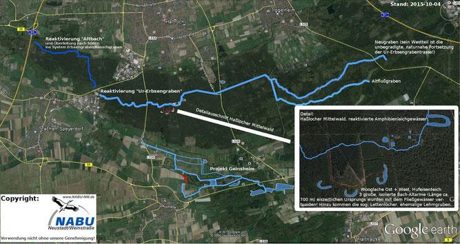 Übersichtskarte: die drei großen Wasserprojekte des NABU Neustadt/Weinstr.