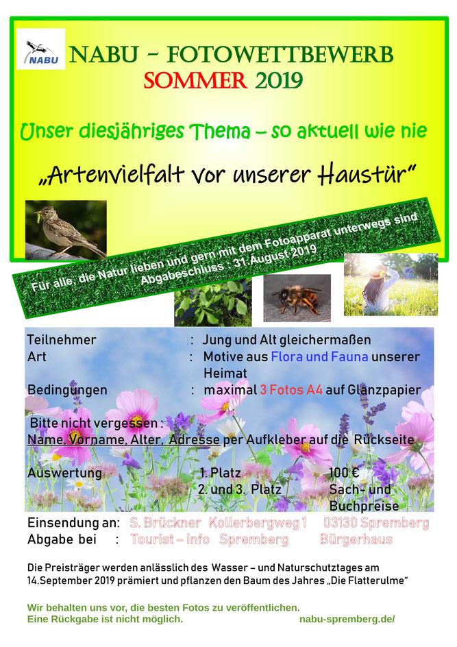 """Fotowettbewerb 2019 des NABU RV Spremberg zum Thema """"Artenvielfalt vor unserer Haustür"""""""