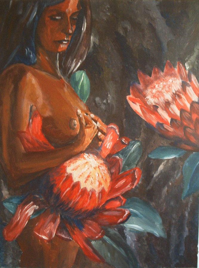 dunkelhäutige Frau, schwanger mit der blütenknospe der Protea, sinnierend und wartend auf die Geburt, das blühende Leben
