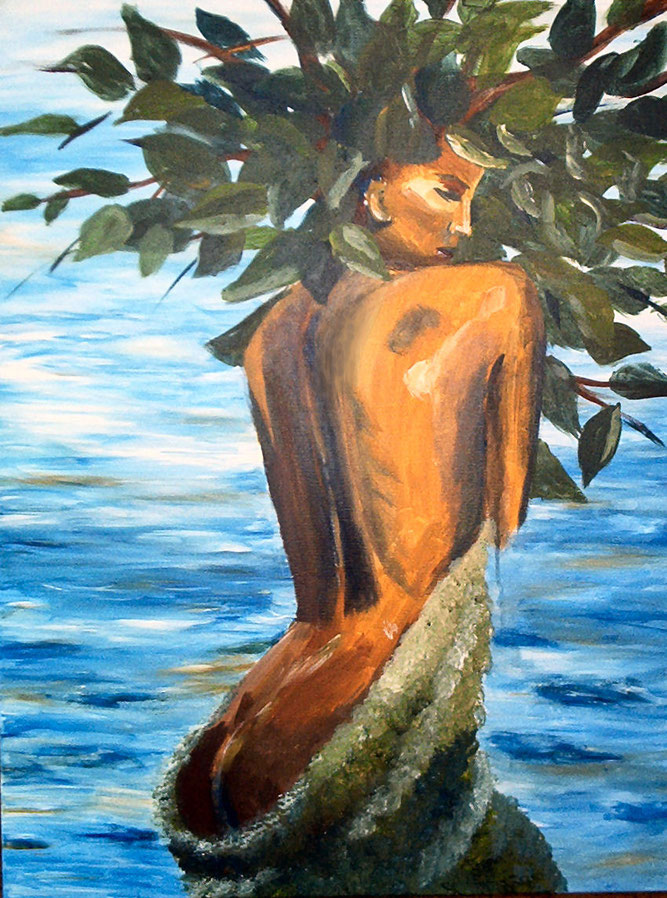 Frau im Meer, umschlungen vom Moos, wachsend mit all ihren Gedanken, am Kopf in allen Facetten verzweigt