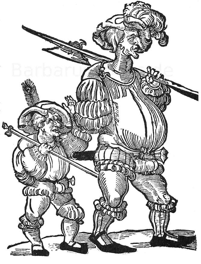 Karrikatur auf Landsknecht mit Buben aus dem 16. Jhd. Holzschnitt eines unbekannten Meisters. Berliner Kupferstichkabinett.