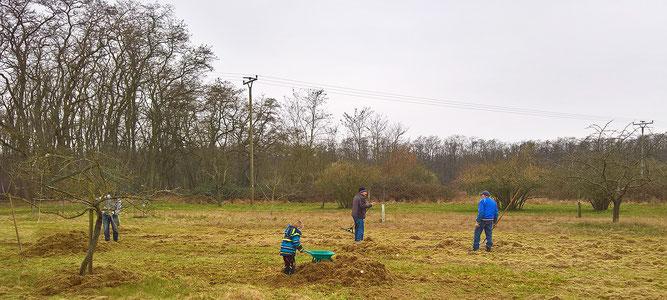 Wiesenpflege mit ehrenamtlichen Helfern. Foto (c) NABU Heidewald