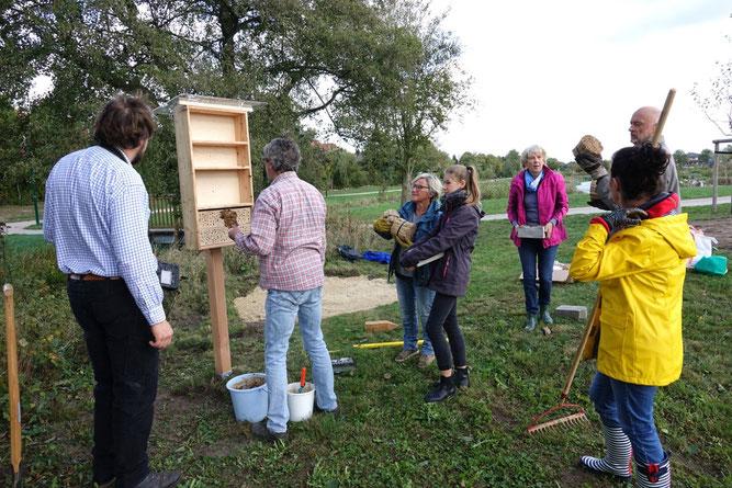 Die Insektennisthilfe wird befüllt. Foto: Bettina Schroeder