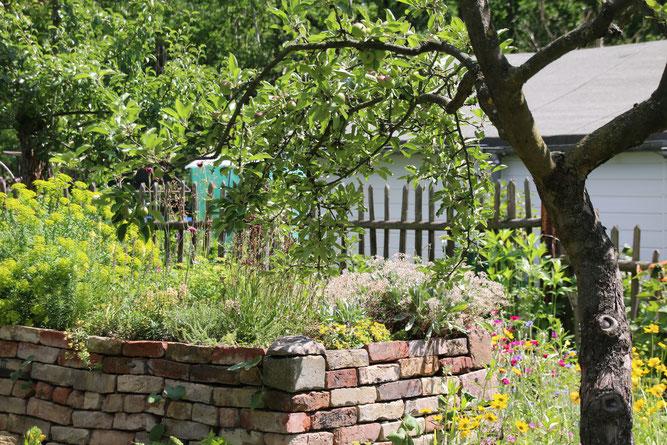 """Foto:""""Vielfalt im Garten mit Trockenmauer, Trockenbeet, Stauden und Obstbaum – hier fühlen sich auch Tiere wohl"""" - NABU/Eric Neuling"""