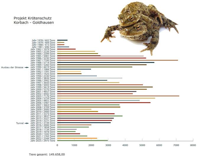 Statistik Amphibienzaun Goldhausen bis 2017