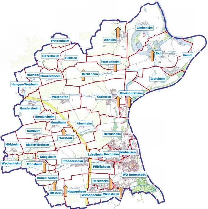 Übersichtskarte Turmstationen, Karte Udo, OSM