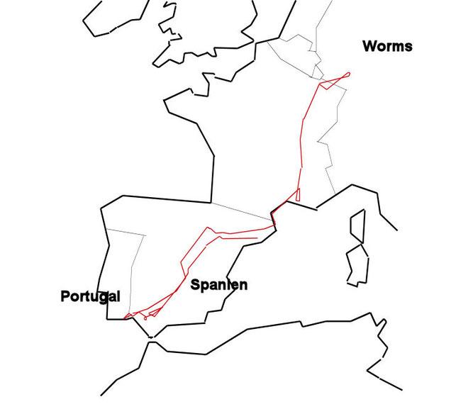 Flugroute Rudi auf Karte