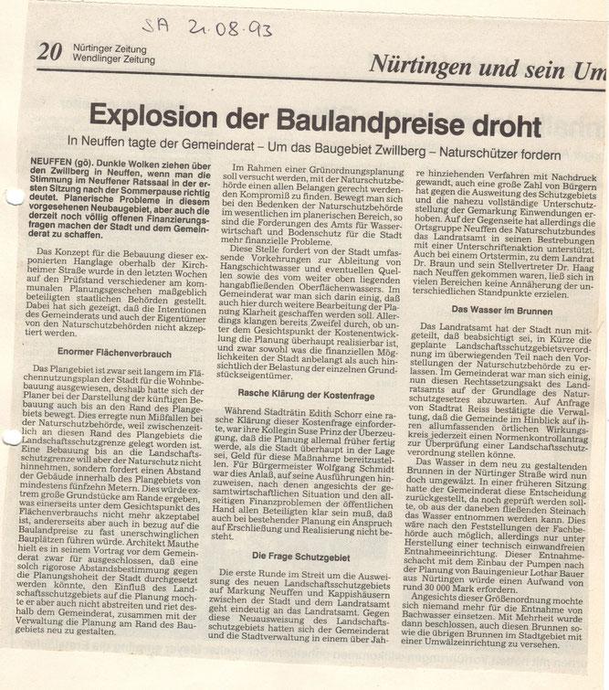 Nach 1993 wurde jetzt auch 2020 das Baugebiet Zwillberg nicht weiter geplant. Rückblick 1993