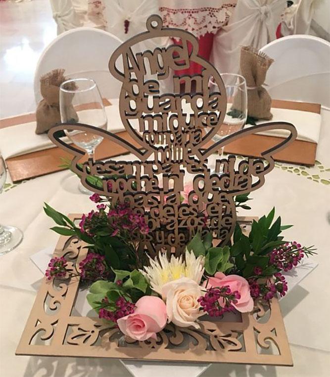 arreglo de mesa angel para bautizo