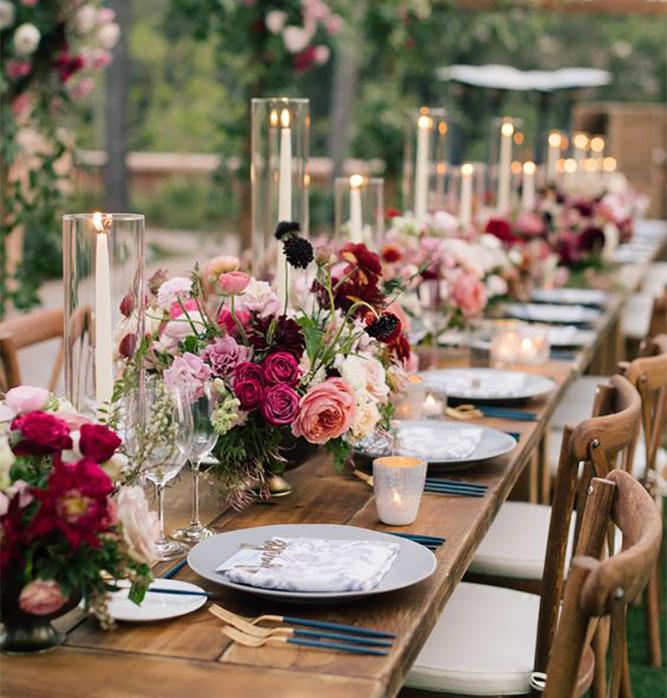 arreglo de mesa con flores para boda