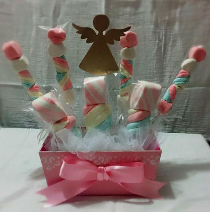 arreglo de dulces para bautizo de niña