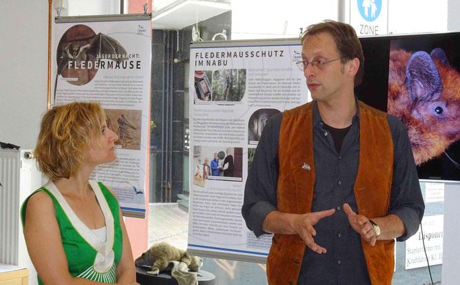 Die Mainzer Umweltdezernentin Katrin Eder im Gespräch mit Christian Henkes vom NABU Mainz und Umgebung