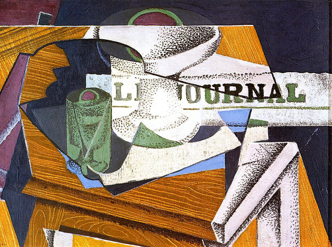 "Juan Gris, ""Fruit Bowl Book and Newspaper"" (1916), riproduzione"