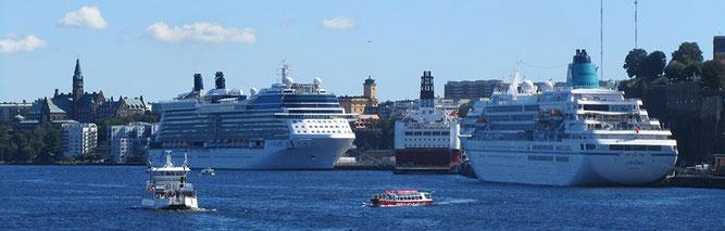 Kreuzfahrtschiffe im Hafen von Stockholm (Foto: Witt)