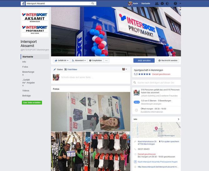Facebook Unternehmensseite für Intersport Aksamit