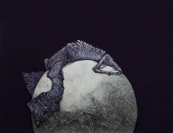 Das Krokodil auf dem Mond (Hommage an Klemens Brosch), Tusche/Grafit/Papier, 50 x 65 cm, 2018