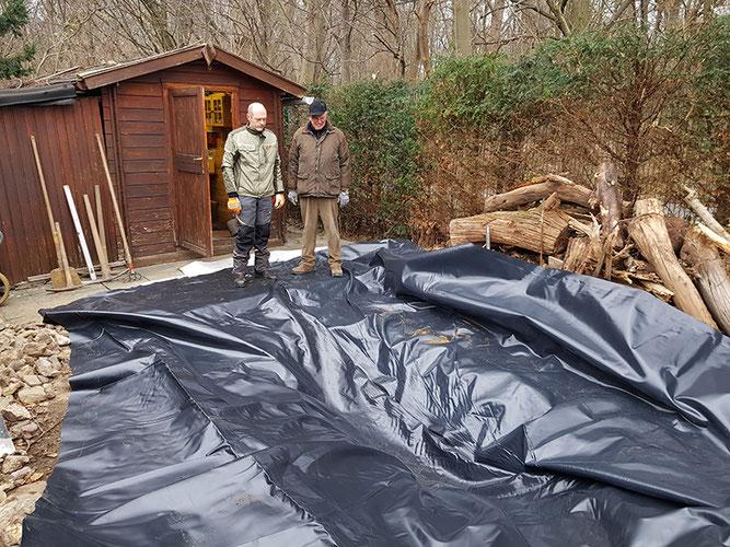 Amphibienschutz NABU-Hütte Teich Arbeitseinsatz NABU Düren