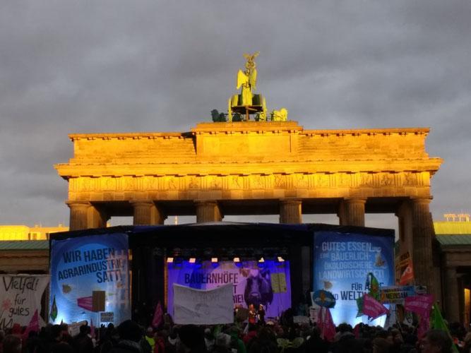 Am Ende des Demotages leuchtete das Brandenburger Tor in der Abendsonne. Foto: Beatrice Jeschke