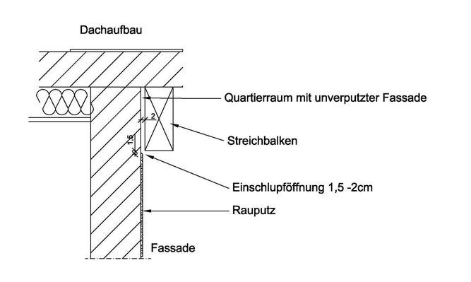 Abb. 10: Einflugmöglichkeit am Streichbalken im Traufbereich für Fledermäuse.