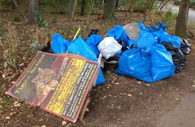 Am Ende kam eine beachtliche Menge Müll von ca. 410 Kilogramm zusammen. Foto: Beatrice Jeschke