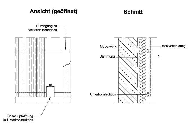 Abb. 6: Quartier für Fledermausarten hinter Giebelverkleidungen aus Holz.