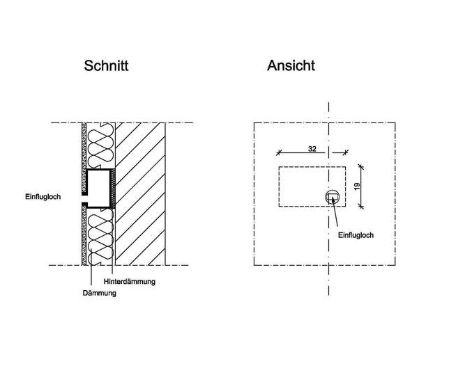Abb. 8: Vorgefertigtes Quartier für Mauersegler und Haussperling in der Wanddämmung.