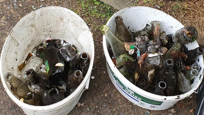 Aus dem Teich im Stötteritzer Wäldchen wurden unter anderem zahlreiche Glasflaschen und Scherben geborgen. Foto: Tony Kremser