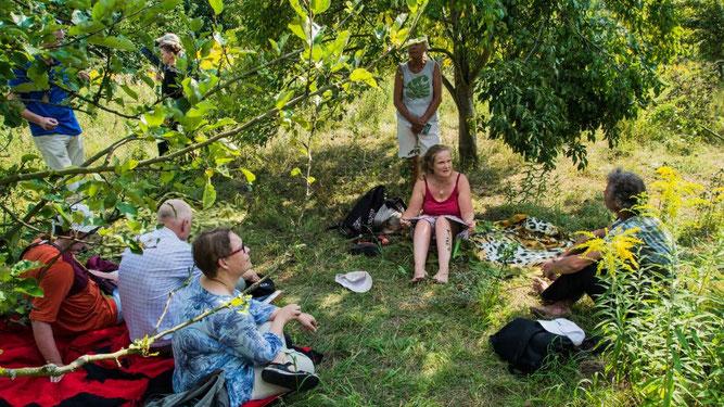 Im Schatten der Obstbäume begaben sich 12 Pflanzenfreunde in die Welt der Heilkräuter. Foto: Ludo Van den Bogaert