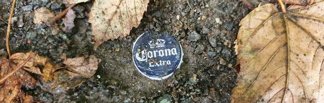 Corona-Problem in der Natur am Elsterbecken: Ein achtlos weggeworfener Kronkorken. Foto: René Sievert