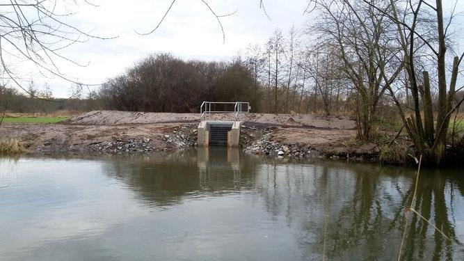 Das neue Einlassbauwerk für die Papitzer Lachen am Ufer der Weißen Elster bei Schkeuditz. Foto: René Sievert
