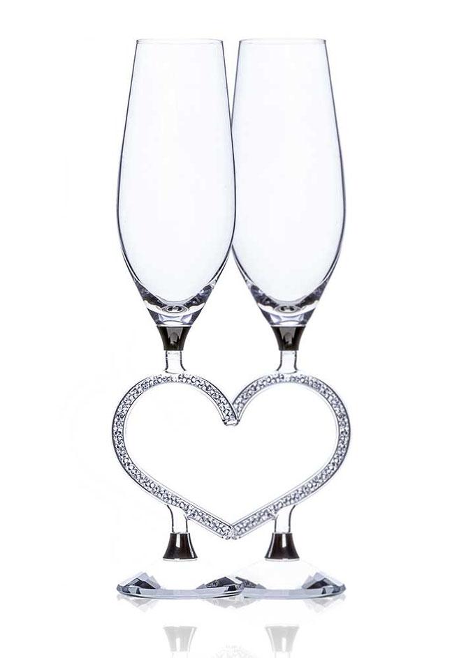 Sektglas Afrodite Heart veredelt mit Swarovski
