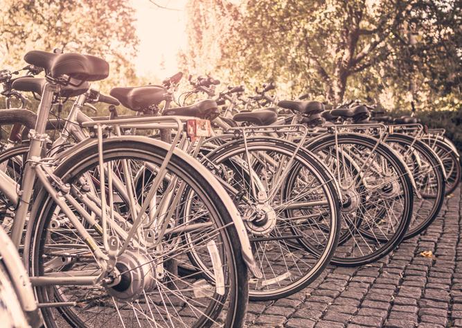 たくさん並んだ自転車の写真