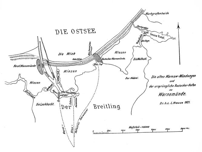 Die alten Warnowmündungen und der ursprüngliche Rostocker Hafen zu Warnemünde nach Dr. h.c. L. Krause 1921