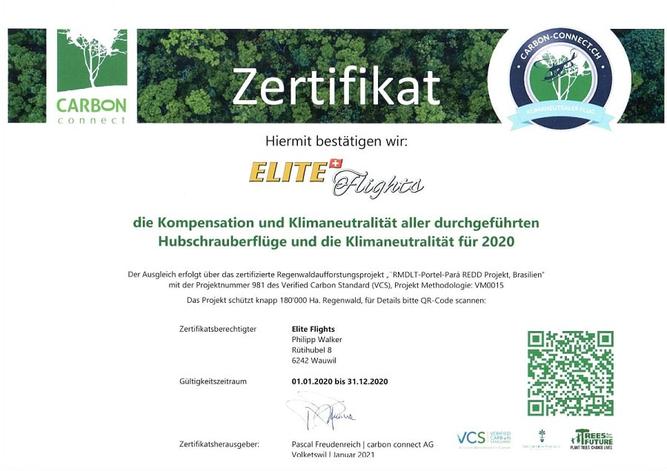 Zertifikat carbon connect, Kompensation aller durchgeführten Flüge / klimaneutrale Flüge /  klimaneutraler Helikopterflug