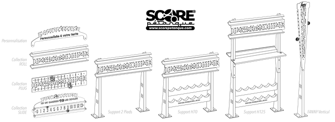 Trois modèles de compteurs de points de pétanque pour votre terrain de boules  Des plaques personnalisées découpées avec votre propre texte  Des supports comprenant tablette et rangements pour les boules