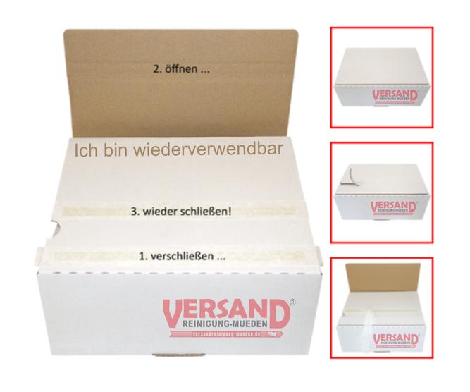 versandreinigung-mueden.de, Leistungen, wiederverwendbare Karton, Bild zeigt 1 großer Karton mit Logo versandreinigung und 3 kleine Karton