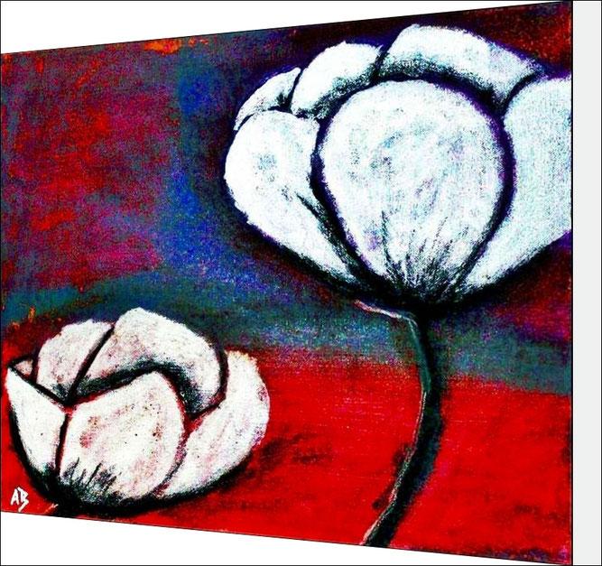 Abstrakte Blumenmalerei-Mischtechnik-Moderne Malerei-Blumen-Silbermalerei-Mohn-Pastelkreide-Acrylfarbe-Mischtechnikmalerei-Abstraktmalerei-Pastel-, Acrylgemäld