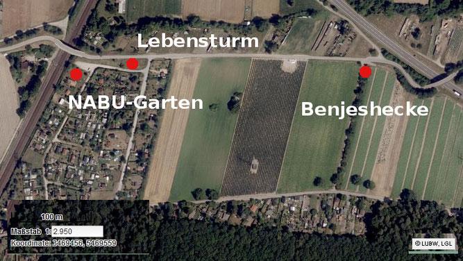 NABU Garten, Lebensturm und Benjeshecke (Quelle Kartendienst der LuBW)