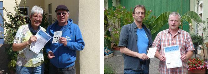 links: Frau Drescher mit Rainer Michalski. Rechts: Christian Henkes mit Herrn Wolff-Becker.