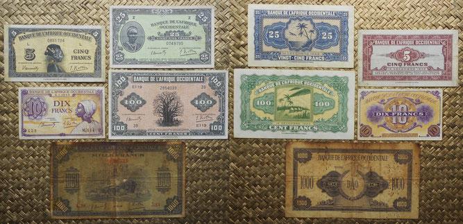 Africa Occidental Francesa francos emisiones foráneas WWII anversos y reversos