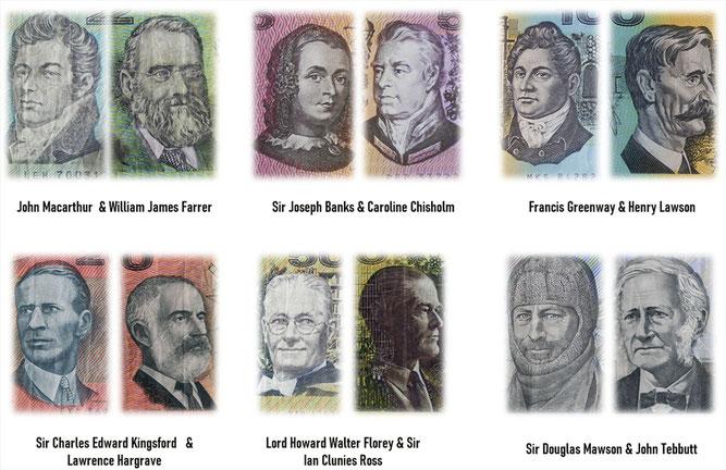 Ilustres australianos en 1er billetario decimal '70-'90 s.XX