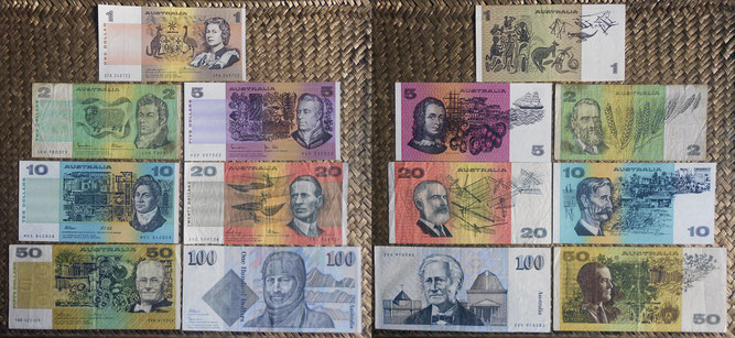 Australia 1ª serie decimal -$ '70-'90 s.XX anversos y reversos
